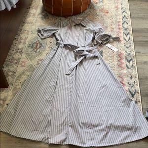 CALVIN KLEIN gray and white pinstripe dress size 6